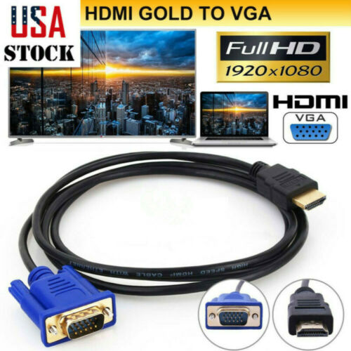 1.8m 1080P HDMI to VGA Cable HDMI to VGA Male-male Flexible Cable Adapter