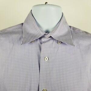 Robert-Talbott-Carmel-Purple-Gingham-Check-Mens-L-S-Dress-Button-Shirt-Sz-Medium