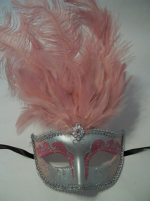 Light Pink Silver Venetian Mask Feather Masquerade Costume Prom