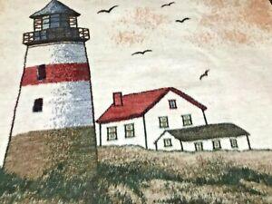 Vintage-Reversible-Nautical-Lighthouse-Beach-Biederlack-Blanket-Throw-56-X-46
