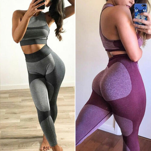 Womens Sports YOGA Workout Gym Fitness Jumpsuit Leggings Pants Athletic Clothes
