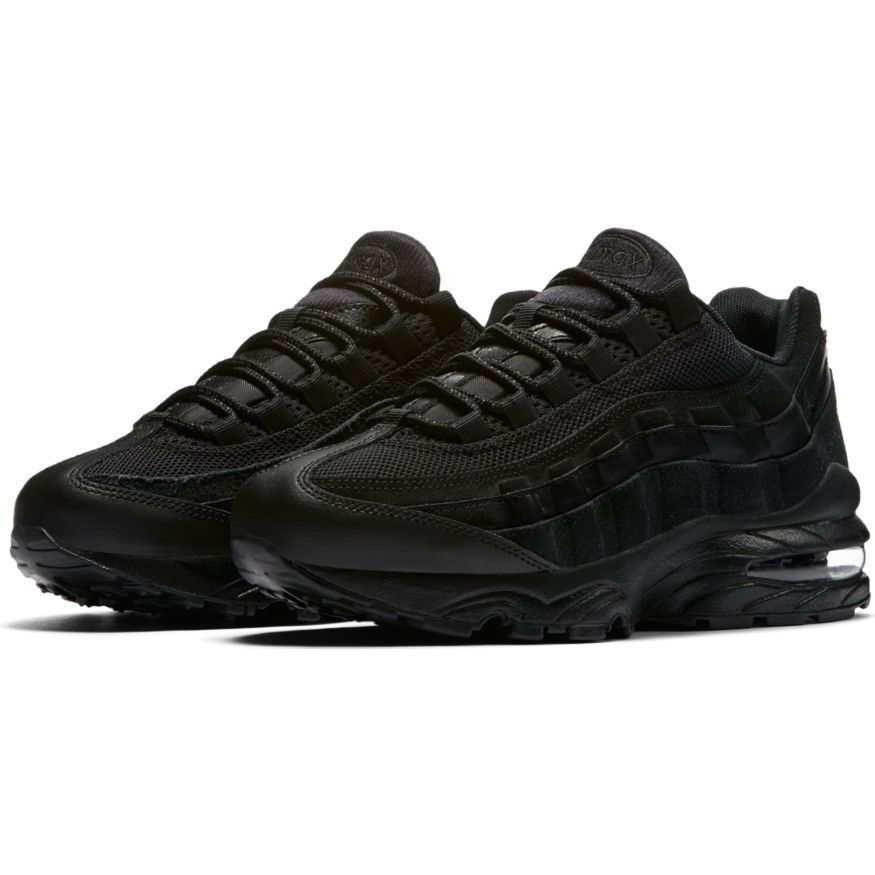 d017823dbd80b NIKE AIR MAX 95 GS 307565-055 307565-055 307565-055 LEATHER BLACK ON BLACK  YOUTH BOYS GIRLS RETRO 90 5d71f0