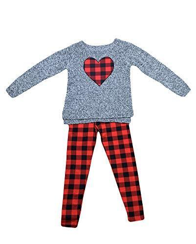 Blush by Us Angels Two Piece Girls Sweater and Legging Set 10, Grey w//Red Pla..