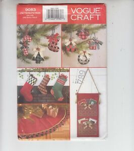 Details About Vogue 9083 Ribbon Christmas Crafts Stocking Tree Skirt Sewing Pattern Uncut