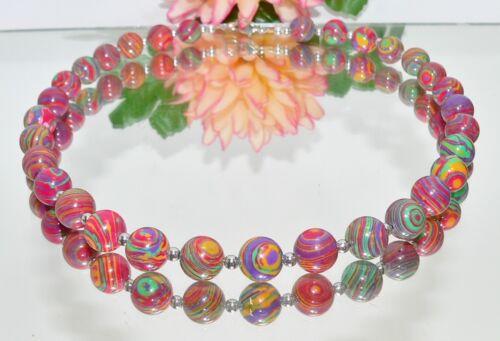 Halskette Kette Perlen Naturstein Malachit mehrfarbig gesteift Hämatit 214ww
