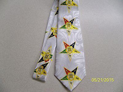 WHITE, Order of Eastern Star Mason, OES,  Masonic, Freemasonry, mens necktie #2