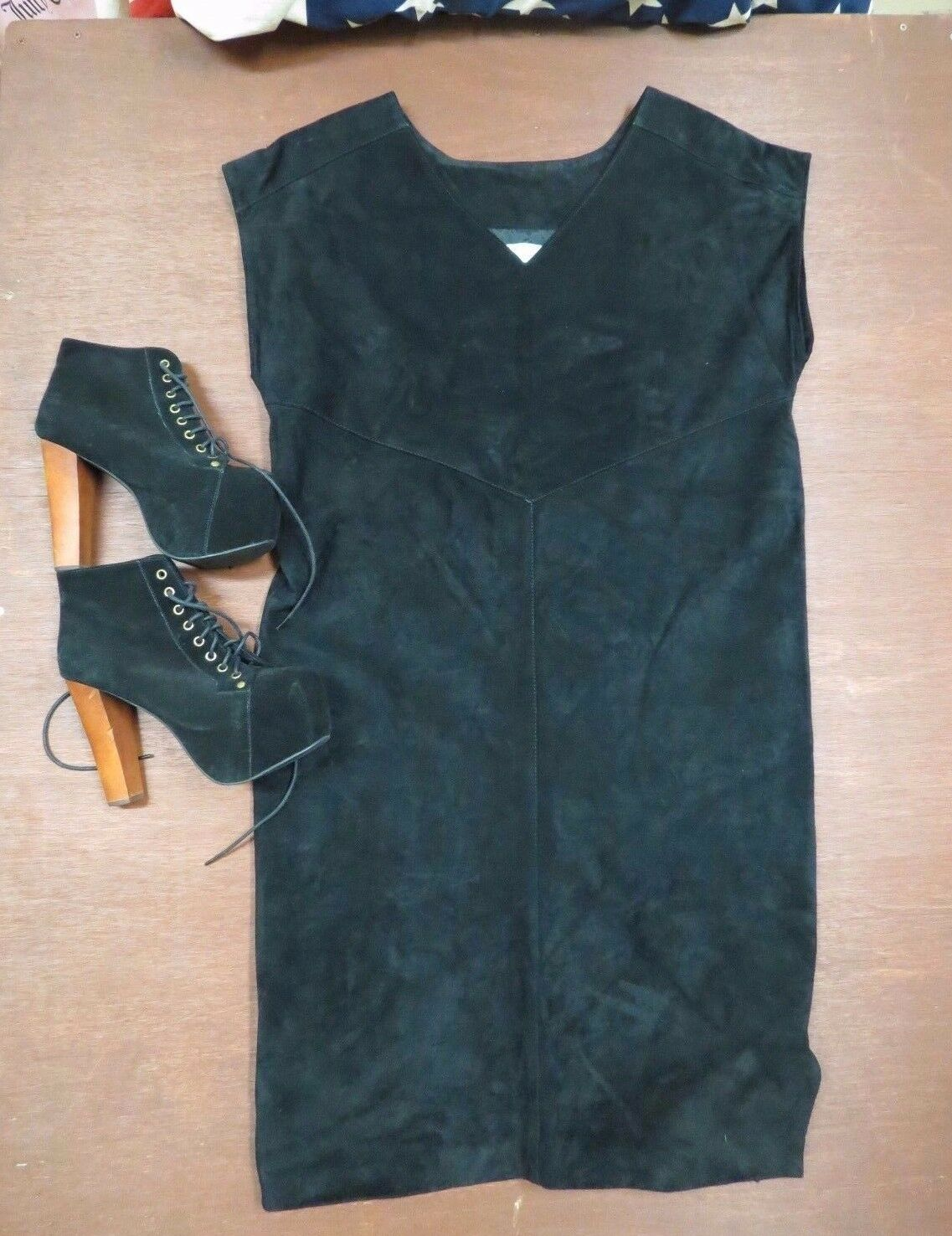 Vintage Wilson Leather Suede Dress Mod Hippie Boho Festival sz.M