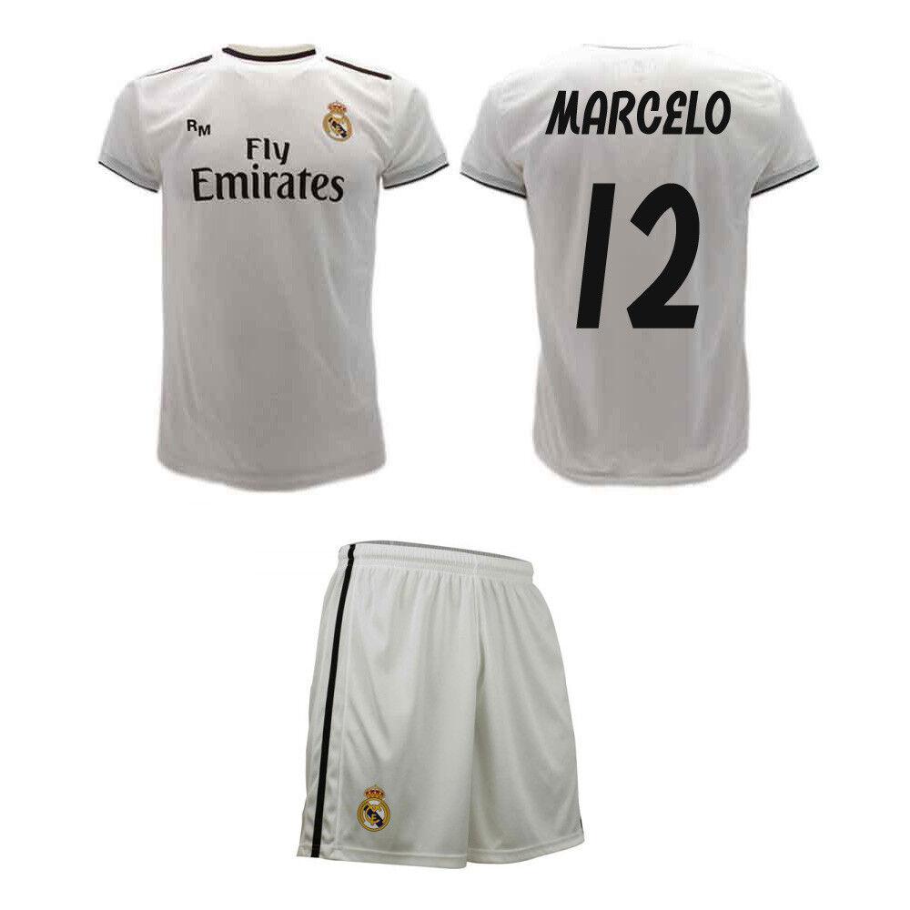 Completo Marcelo Ufficiale Real Madrid 2019 Maglia e Pantaloncini Vieira 12