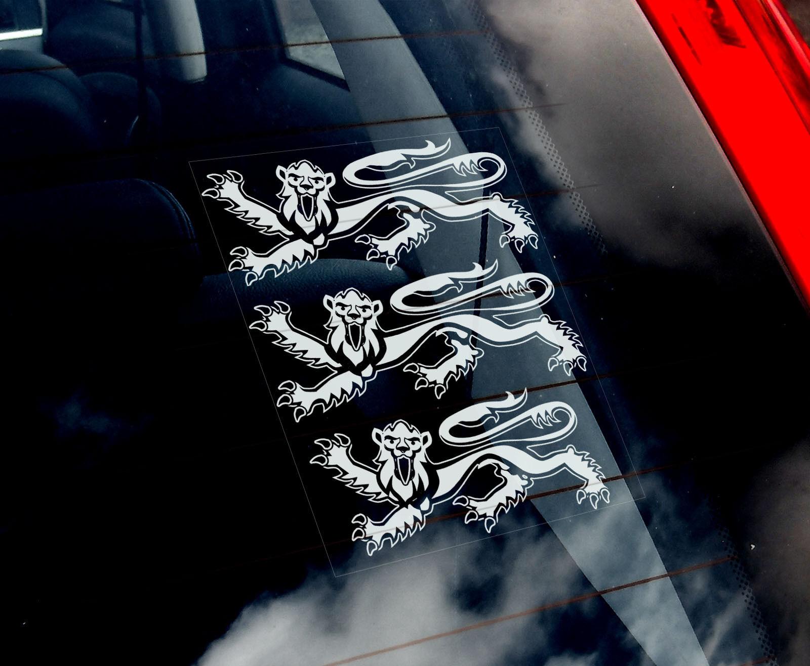 Trois Lions-Voiture Fenêtre Autocollant-Angleterre Royal 3 armoiries football Signe