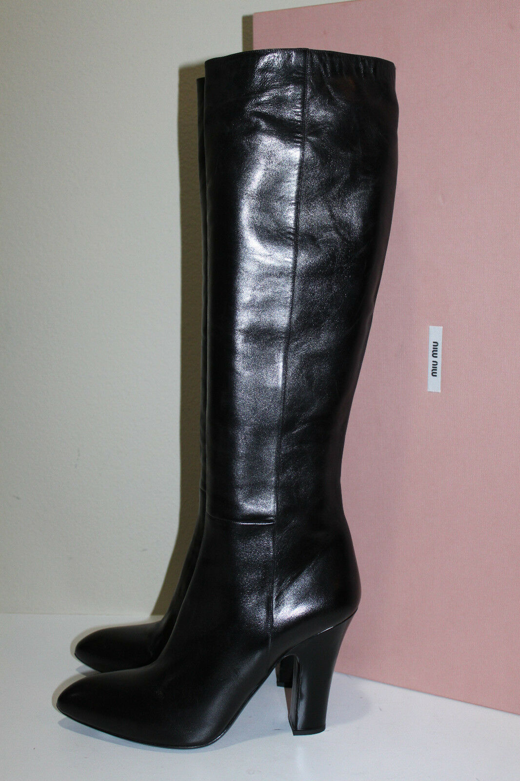 New Miu Miu / Prada Black Leather Tall Boot Pointed Toe Heel Shoes sz 7 / 37