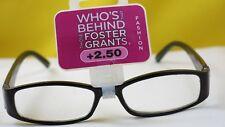 New $19.99 Foster Grant Designer Women Reading Eyeglasses-+2.50-Victoria Black