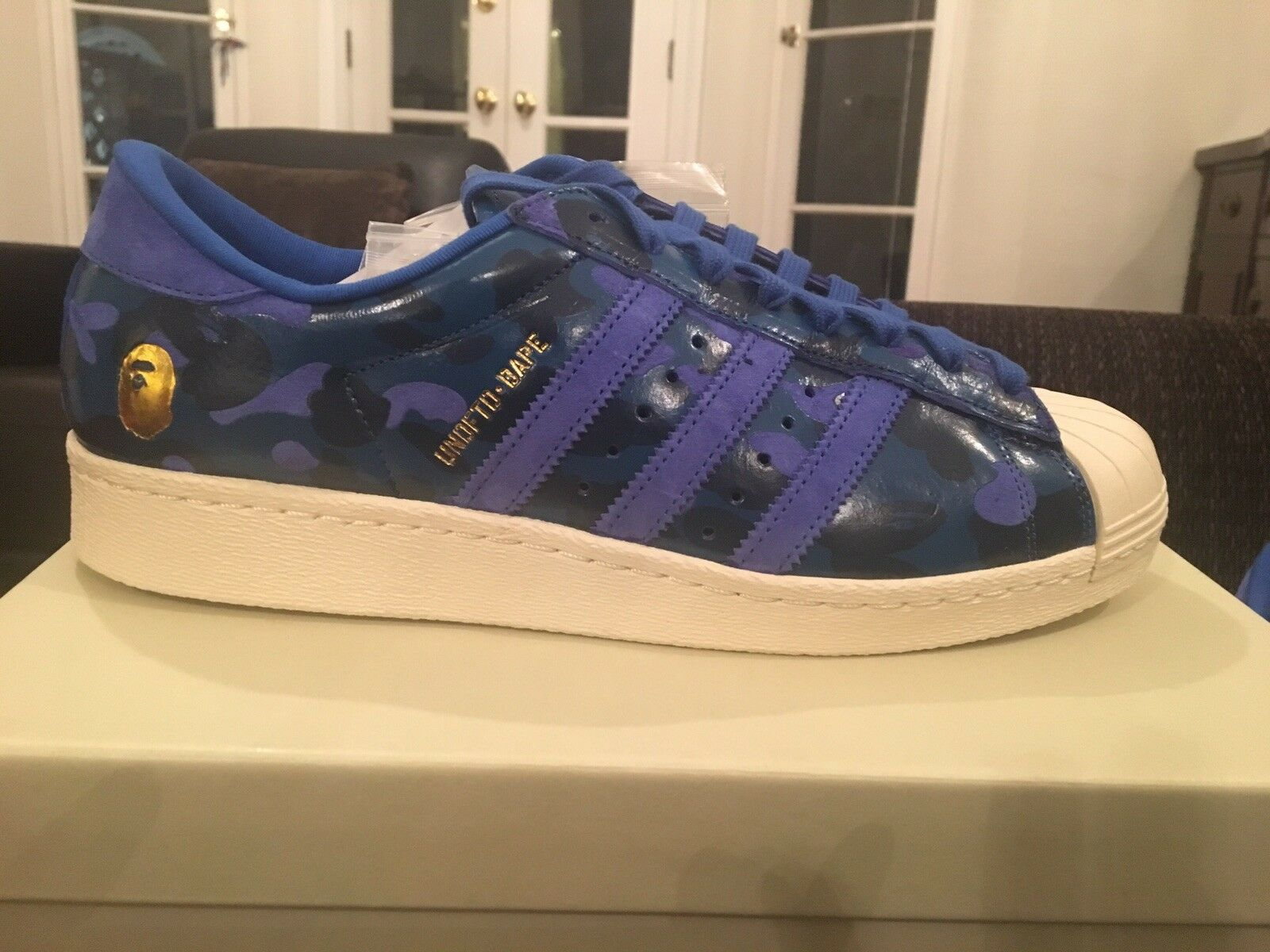 Bape Undefeated Adidas Superstar v80  Sz 10.5 s74775 bluee camo