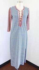 J Crew Blue Red Striped Lace Up Grommet Midi Maxi Dress Size S Nautical Beach