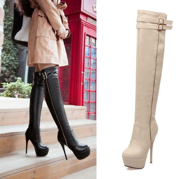 Gladiator Womens Sexy Boots Stiletto Heels Platform Over the Knee High Boot shoes
