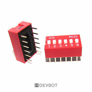 Interrupteurs DIP switch 12 Pins 6 positions Rouge Lot de 2 5 DIY Arduino Pi