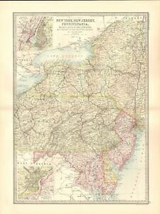 1890 ANTIQUE MAP - USA, MIDDLE STATES, PENNSYLVANIA,MARYLAND ...