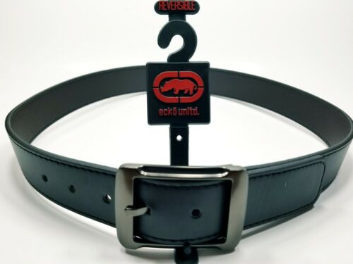 ECKO UNLTD Men/'s Leather Belt Black~Brown Reversible w//Gray Buckle Various Sizes