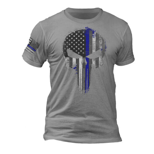 USA Patriotic Tactical Police Thin Blue Line Punisher Skull Sleeve Print T-Shirt