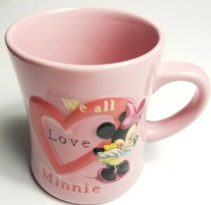 Disney-Parks-Minnie-Mouse-3D-Pink-Coffee-Mug-We-All-Love-Heart