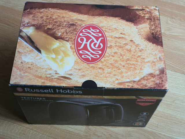 Russell Hobbs 21641 Textures 850W 2 Slice Wide Slot Toaster - Black |New|QikShip