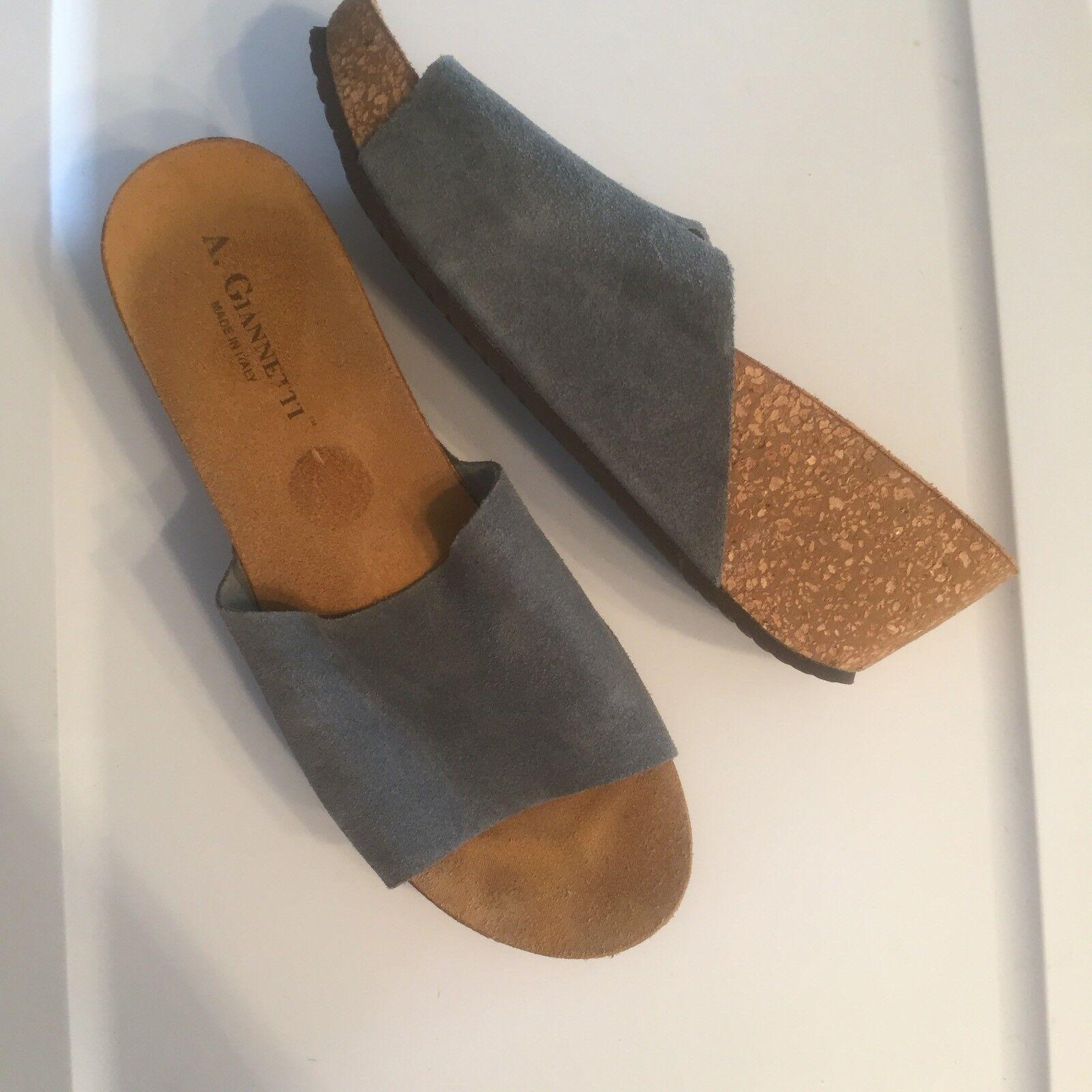 A. Giannetti Italy Suede Slip On Platform Blue Sandals Wedge Heel Dusty Blue Platform Gray 10 9ff895