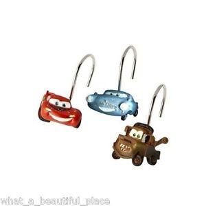 12-Disney-Cars-Boys-Bath-Shower-Curtain-Hooks-Lightning-McQueen-Tow-Mater-Racing