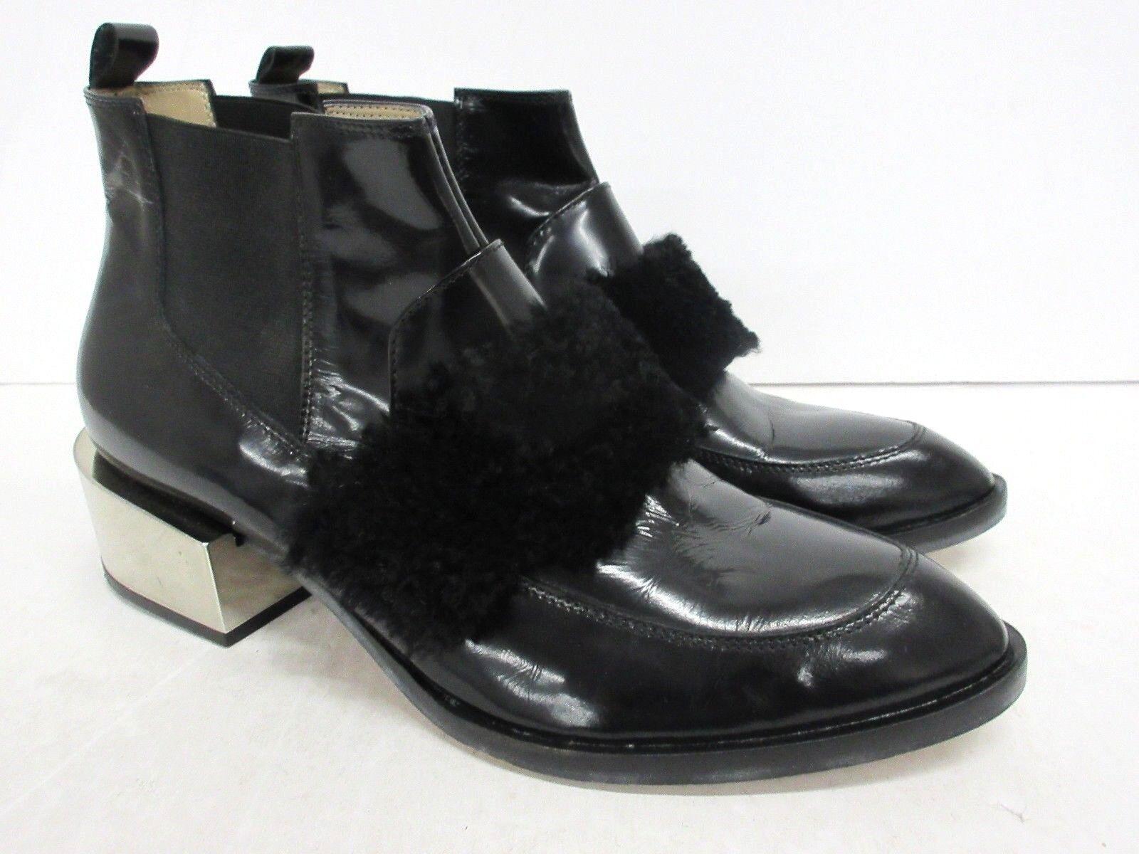 BCBGMAXAZRIA Faux Fur Patent Leder Leder Leder Ankle Boot Größe: 40 EUR 6822fb