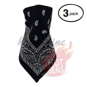 Lot-3-PCS-Paisley-Bandana-Face-Mask-Head-Wrap-Scarf-100-Cotton