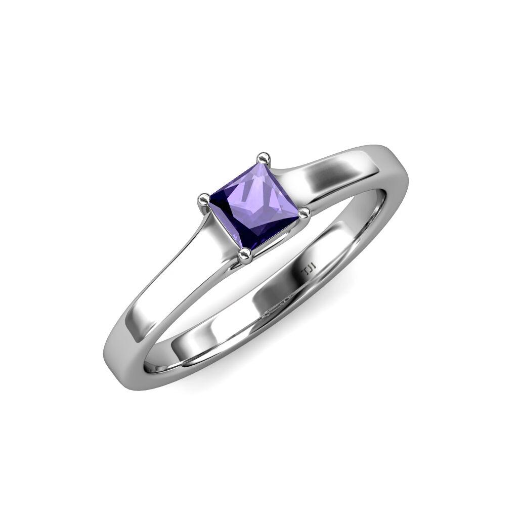 Iolite Princess Cut Solitaire Engagement Ring 0.55 ct 14K gold JP 81699