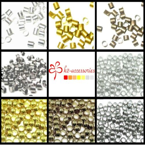 Silver 1000 Pcs Metal Crimps Stopper Beads Bronze Black Plated Gold