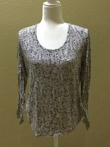 Ann-Taylor-Size-L-Black-And-White-Print-Long-Sleeve-Top