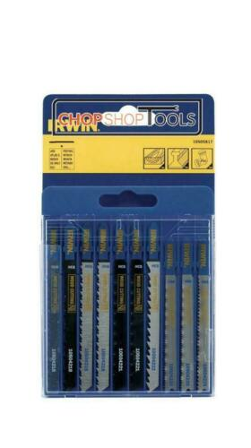 Plastic /& Metal 10 PACK NEW Irwin Jigsaw Blade Set ASSORTED T Shank Wood