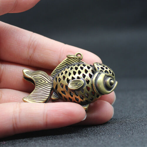 Exquisite Old Brass Handmade Carved Hollow-out Fish Pendant Gifr