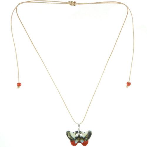 Collier pendentif Papillon porcelaine Rouge Marron sombre cordon réglable beige