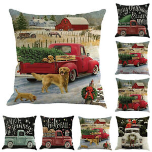 Christmas-Car-Truck-Throw-Pillow-Case-Cushion-Cover-Cafe-Car-Home-Decor-Welcome