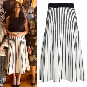 MAJE-Authentic-Meghan-Markle-Striped-Pleated-Ponte-Midi-Skirt-A-line-Fit-Flare