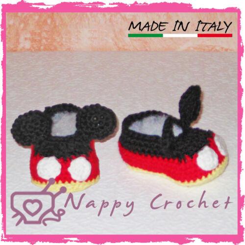 SCARPINE NEONATO UNCINETTO BIMBO TOPOLINO MICKEY MOUSE BABY CROCHET SHOES