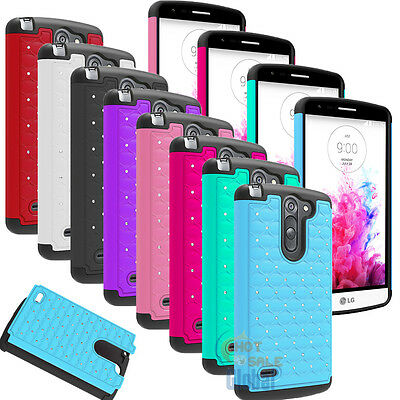 New Bling Crystal Rugged Rubber Hard Protective Case Cover For LG G3 Stylus D690