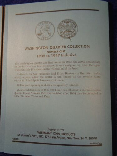 Whitman Washington Quarter #1 1932-1947 Coin Folder Album Book #9018