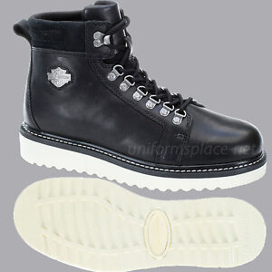 1710eeba038 Details about Harley Davidson Boots Mens Larry Lace Up Wedge Boot Black  Leather Shoes D93230