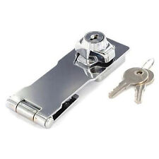 Chrome Locking Hasp and Staple with Keys Padlock Cupboard Shed Garage Lock 75mm