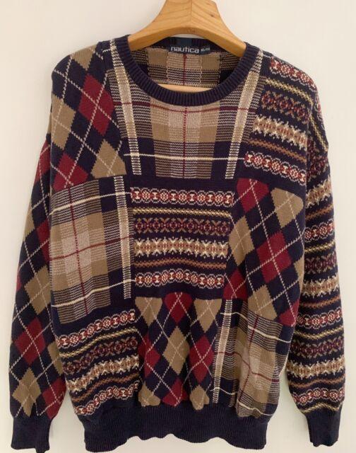 Vintage NAUTICA Mens Sweater Sz XL Blue Multi Plaid Argyle Crew Neck Pullover