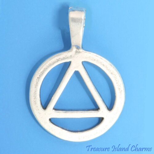 AA Symbol Alcoholics Anonymous Sobriety 925 Sterling Silver Pendant Alcoholism