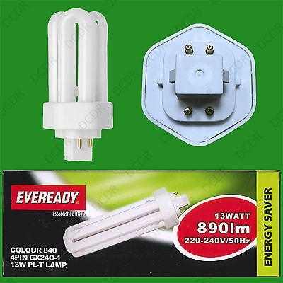 10x 18W =100W Low Energy GX24Q-2 4 pin 4000K Cool White CFL 840 Light Bulb Lamp