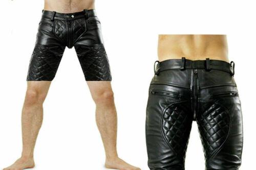 Uomo Vera Pelle Di Mucca Nero Pantaloni Corti con pieno quello anteriore Zip Clubwear Tempo Libero