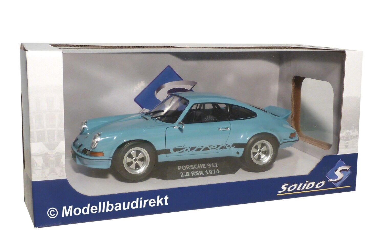 Porsche 911 2.8 RSR Bj 1974 in bleu clair 1 18 Solido 1801101 NOUVEAU & NEUF dans sa boîte