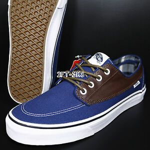 a8bdcf7178 VANS BRIGATA LEATHER PLAID ESTATE BLUE POTTING SOIL MEN S   era rata ...