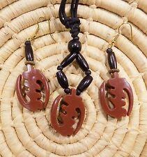 African Gye Nyame Adinkra Necklace and Earrings Set tribal ethnic boho jsgb