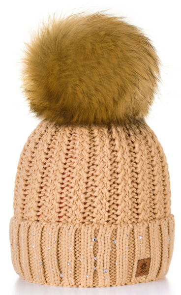 3e7c9bccb1a Women Winter Beanie Hat Knitted Little Crystal Ladies Fashion Large ...