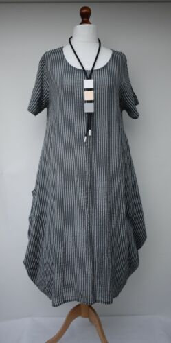 LINEN/COTTON OVERSIZED STRIPED 2 POCKETS DRESS**CHARCOAL/GREY**BUST UP TO 46""